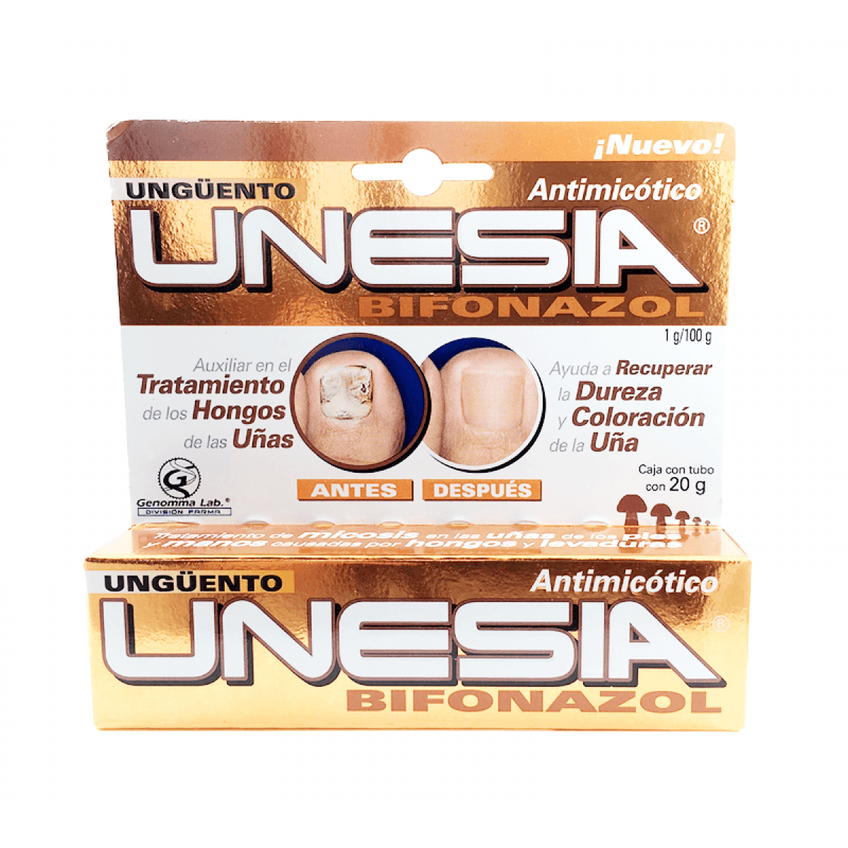 Unesia Bifonazol Cream 20g para Hongos de Genomma Lab $10.95 o Menos
